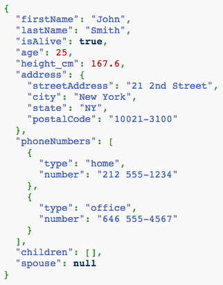 This is an example of pretty printed JSON